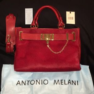 Red Antonio Melanie Calf Hair Bag